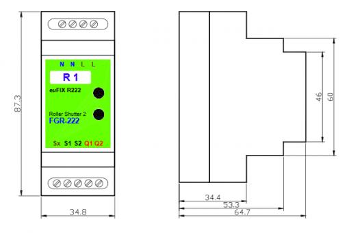 euFIX R222 DIN-rail behuizing voor Fibaro FIB-FGRM-222 Rolluik schakelaar V2