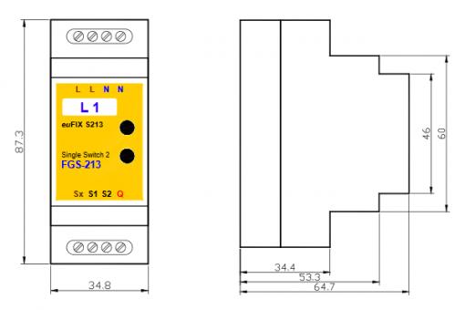 euFIX S213 DIN-rail behuizing voor Fibaro FIB-FGS-213 Schakelaar micro module enkel Z-wave+