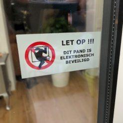 Sticker: LET OP!!! dit pand is elektronisch beveiligd