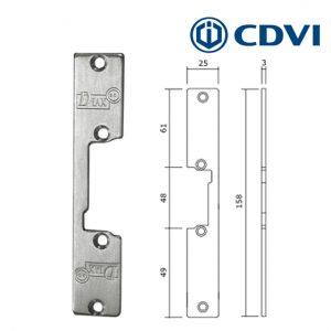 CDVI Enkelvoudige korte voorplaat RVS asymmetrische type TG1I