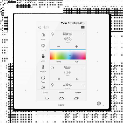 ZipaTile van Zipato is de all-in-one Z-Wave plus en ZigBee controller voor aan de muur wit