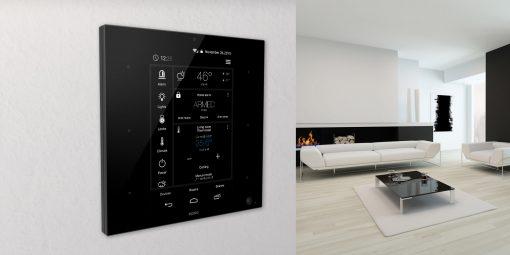 ZipaTile van Zipato is de all-in-one Z-Wave plus en ZigBee controller voor aan de muur zwart
